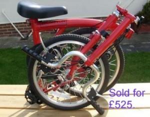 Red Brompton 3-speed folding bike